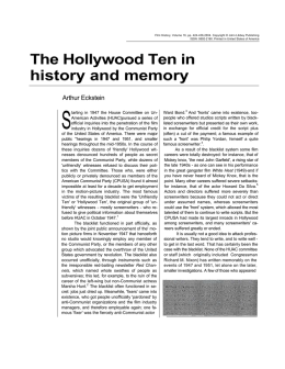 The Hollywood Ten in history and memory