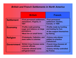 British and French settlements in North America