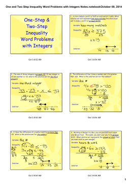 One and Two Step Inequality Word Problems with Integers Notes