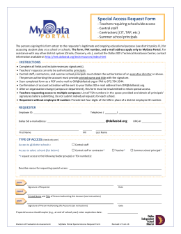 Special Access Request Form - My Data Portal