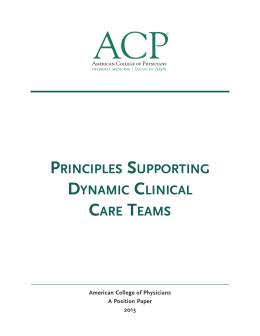 Principles Supporting Clinical Care Teams