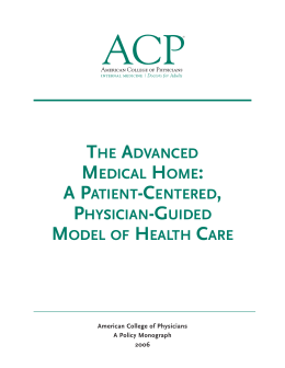 The Advanced Medical Home: A Patient