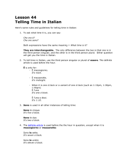 Lesson 44 Telling Time in Italian