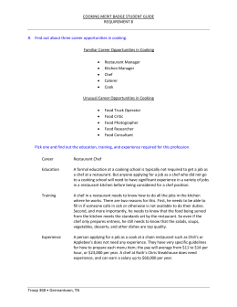 COOKING MERIT BADGE STUDENT GUIDE