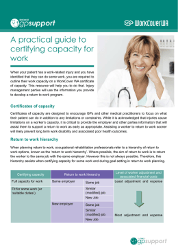 A practical guide to certifying capacity for work