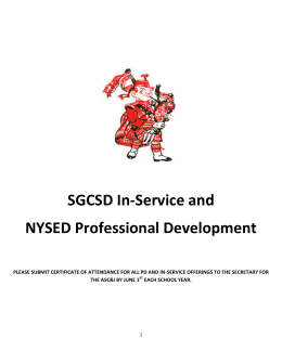 Overview of SGCSD In-Service and NYSED Professional