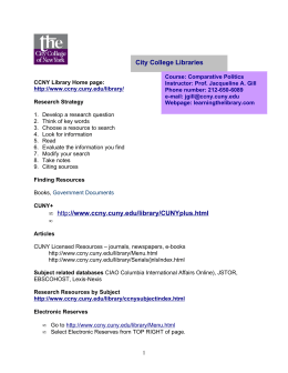 City College Libraries • http://www.ccny.cuny.edu/library/CUNYplus