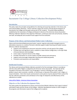 Sacramento City College Library Collection Development Policy