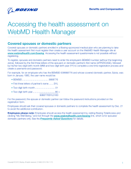 Accessing the health assessment on WebMD Health