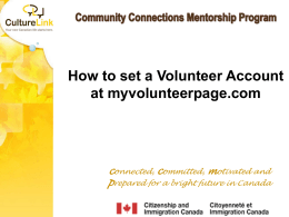 How to set a Volunteer Account at myvolunteerpage.com