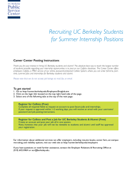 Recruiting UC Berkeley Students for Summer Internship Positions
