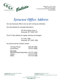 Syracuse Office Address - Columbian Financial Group