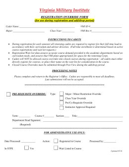 Registration Override Form - Virginia Military Institute