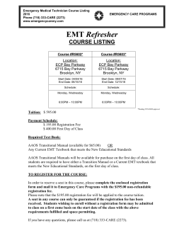 EMT Refresher Course Listing