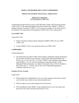 Student User Agreement - Maryland Higher Education Commission