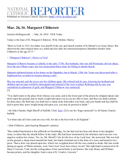 Mar. 26, St. Margaret Clitherow