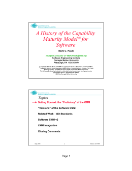 A History of the Capability Maturity Model for Software