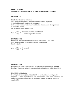 PART 3 MODULE 3 CLASSICAL PROBABILITY, STATISTICAL