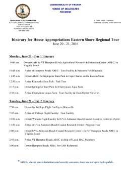 Itinerary - House Appropriations Committee