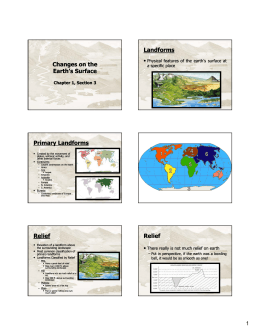 Changes on the Earth`s Surface Landforms Primary Landforms