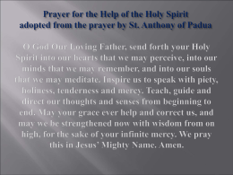 Prayer for the Help of the Holy Spirit adopted from the prayer by St