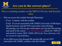 HIPAA Basics - University of Michigan Health System