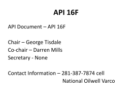 API 16F - My Committees