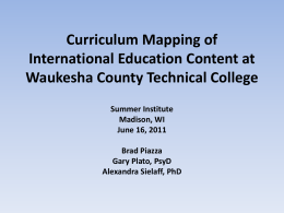Curriculum Mapping of International Education Content at