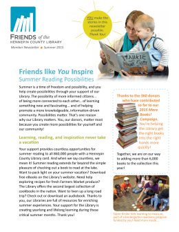 Summer 2015 - Friends of the Hennepin County Library