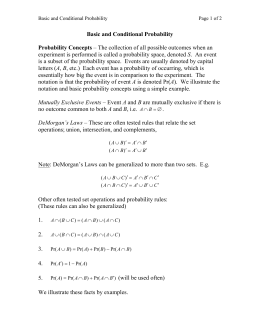 Basic and Conditional Probability Probability Concepts – The