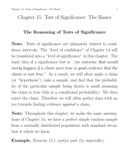 Chapter 15. Test of Significance: The Basics