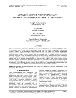 Software Defined Networking (SDN) Network Virtualization for the IS