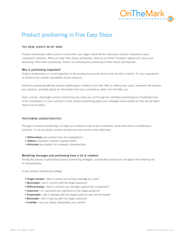 Product positioning in Five Easy Steps