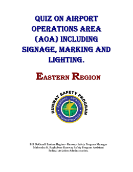 quiz on airport operations area including signs, markings and lightings