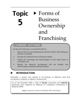 Topic 5 Forms of Business Ownership and Franchising