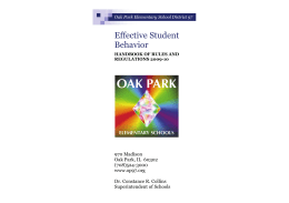 Effective Student Behavior - Oak Park Elementary School District 97