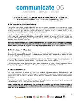 12 basic guidelines for campaign strategy
