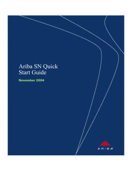 Ariba SN Quick Start Guide