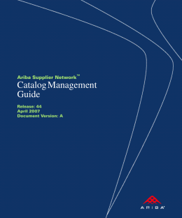 Ariba SN Catalog Management Guide