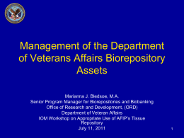 Management of the Department of Veterans Affairs Biorepository