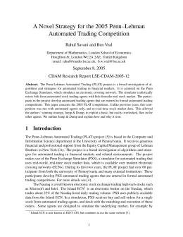 A Novel Strategy for the 2005 Penn–Lehman Automated Trading