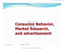 Consumer Behavior, Marekt Research, and advertisement
