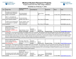 Medical Student Research Projects