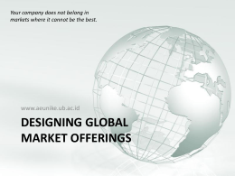 Designing Global Market Offerings