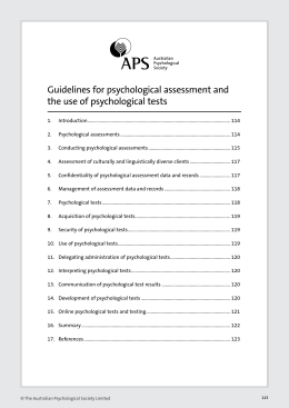 Guidelines for psychological assessment and the use of