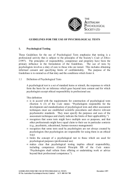 GUIDELINES FOR THE USE OF PSYCHOLOGICAL TESTS