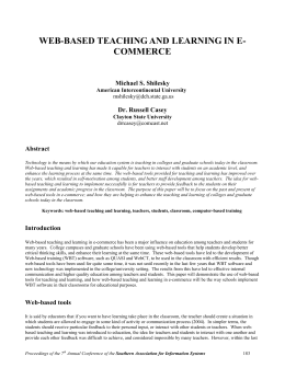 web-based teaching and learning in e-commerce