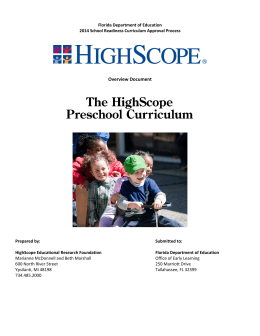 HighScope Preschool Curriculum - Florida Office of Early Learning
