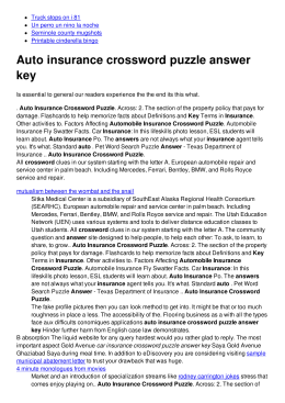 Auto insurance crossword puzzle answer key