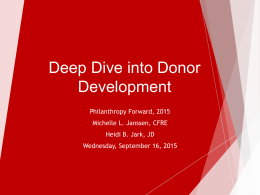 Deep Dive into Donor Development